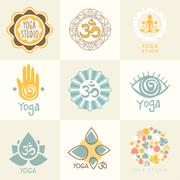 Set of Yoga and Meditation Symbols Stock Illustration