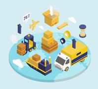 Logistics Isometric Set Stock Illustration