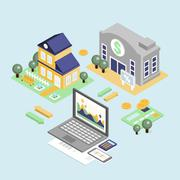 Stock Illustration of Bank Credit and Home Loan Concept with Isometric House