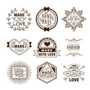 Retro Design Insignias Logotypes , Hand Made Stock Illustration