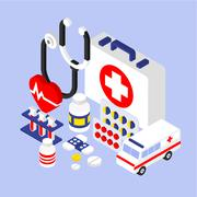 Flat 3d Isometric Infographic for Medical - stock illustration