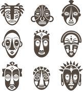 African masks set - stock illustration
