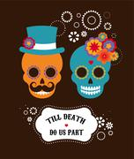 Mexican wedding invitation with two hipster skulls - stock illustration