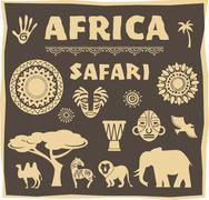 Africa, Safari icon and element set - stock illustration