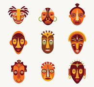 African masks set - stock illustration