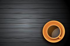 Orange Cup of coffee or tea on the table dark wood - stock illustration