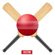 Vector illustration of cricket leather ball and wooden bats Stock Illustration