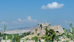 View Of The Ancient Acropolis In Greece Time Lapse - stock footage