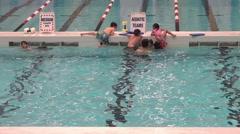 Public Swimming Pool - 04 - Kids - Aquatic Team Training - stock footage