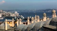 Chimneys of Suleymaniye Mosque, Galata bridge, ferries Stock Footage