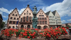 Roemberberg square in Frankfurt Main, Germany Stock Footage