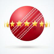 Stock Illustration of Vector illustration of cricket leather ball with golden stars