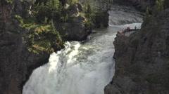Tourist brink Upper Falls Yellowstone Grand Canyon powerful 4K Stock Footage