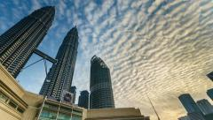 Time lapse of cloudscape view over Petronas Twin Tower, KLCC. Stock Footage