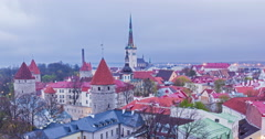 4k Timlapse of day to nigh transition of aerial view of Tallinn Medieval Old - stock footage