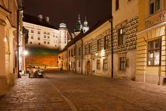 Kanonicza Street in Krakow at Night Stock Photos
