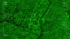 Night vision aerial surveillance drone/UAV flyover of an urban river passageway - stock footage