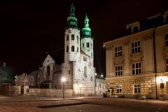 Church of St. Andrew at Night in Krakow Stock Photos