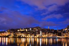 City of Porto by Night in Portugal - stock photo