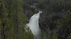 Upper Falls Grand Canyon of Yellowstone Park 4K Stock Footage