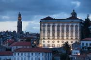 Stock Photo of Episcopal Palace at Dusk in Porto