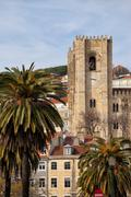 Tower of the Lisbon Cathedral in Portugal - stock photo