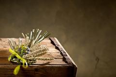 bundle of wheat with flower and band - stock photo