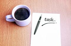 Coffee, pen and notes write task - stock photo