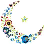 Polish folk floral pattern in moon shape - stock illustration