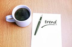 Stock Photo of Coffee, pen and notes write trend
