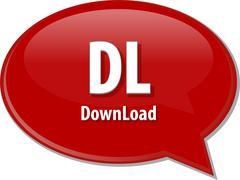 Stock Illustration of DL acronym definition speech bubble illustration