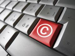 Digital Copyright Symbol Key - stock illustration