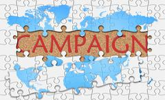 Stock Illustration of Jigsaw puzzle reveal  word campaign