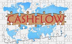 Jigsaw puzzle reveal  word cashflow - stock illustration