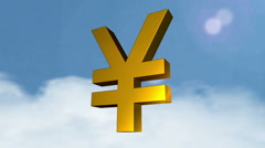 3d currency symbols (Yen) Stock Footage
