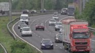 Stock Video Footage of England traffic. Mid shot one direction motorway