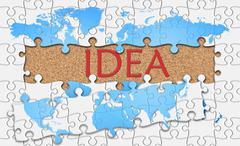 Jigsaw puzzle reveal  word idea - stock illustration