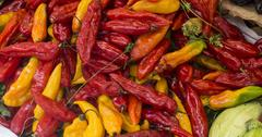 Hot peppers (aji limo) in a peruvian market. Stock Photos