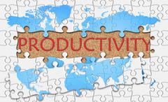 Jigsaw puzzle reveal  word productivity - stock illustration