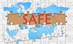 Jigsaw puzzle reveal  word safe Stock Illustration