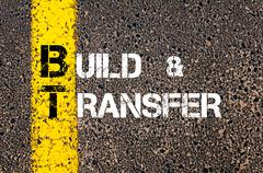 Concept image of Business Acronym BT as Build and Transfer   Stock Photos