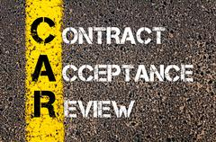 Concept image of Business Acronym CAR as Contract Acceptance Review - stock photo