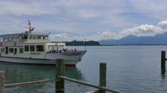 Steamboat, Prien at Chiemsee Lake, Germany Stock Footage