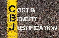 Concept image of Business Acronym CBJ as Cost and Benefit Justification Stock Photos