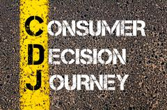 Concept image of Business Acronym CDJ as Consumer Decision Journey - stock photo