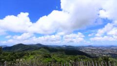 Time-lapse Mountain Clouds Blue Sky Forest Tropical Island City Horizon Thailand - stock footage