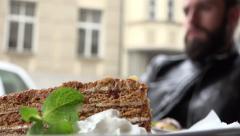 Food - dessert - honey cake - detail Stock Footage