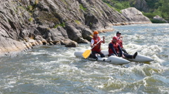 River and tourists on boats   rafting and have a fan. 4K 3840x2160 - stock footage