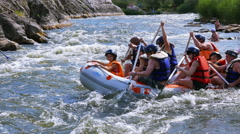 Happy people on  boat rafting and have a fan. 4K 3840x2160 Stock Footage