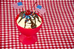 Patriotic hot fudge sundae Stock Photos